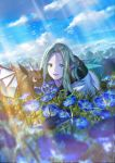 1girl absurdres blue_eyes blurry clouds commentary_request copyright_request creature depth_of_field dragon_wings fang field film_grain flower flower_field green_eyes green_hair heterochromia highres horns light_rays long_hair looking_at_viewer lying morning_glory on_stomach open_mouth outdoors pointy_ears sky sunbeam sunlight syo5 wings