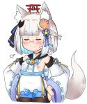1girl animal_ears bailingxiao_jiu bangs bare_shoulders bell black_legwear blue_hair blue_ribbon blunt_bangs blush braid breasts closed_eyes closed_mouth cropped_legs detached_sleeves dress eyebrows_visible_through_hair fang fang_out fox_ears fox_girl fox_hair_ornament fox_tail glasses glowing hands_on_hips jingle_bell long_sleeves magatama magatama_hair_ornament multicolored_hair neck_ribbon original red-framed_eyewear ribbon ribbon-trimmed_sleeves ribbon_trim short_eyebrows silver_hair simple_background sleeveless sleeveless_dress small_breasts smile solo tail tail_raised thick_eyebrows thigh-highs torii two-tone_hair white_background white_dress white_sleeves wide_sleeves