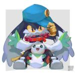 1boy :3 adjusting_headwear animal_ears artist_name black_eyes black_footwear blue_headwear border claws closed_mouth collar commentary_request crossover digimon fangs full_body furry gloves green_eyes grey_background hand_up happy hat kaze_no_klonoa klonoa knees_up looking_at_another looking_at_viewer looking_up male_focus no_humans open_mouth oversized_clothes red_shorts shirtless shoes shorts simple_background sitting smile spread_legs teeth terriermon twitter_username watermark white_border yellow_gloves yellow_sclera yoshiya_(ina_ba_ya)