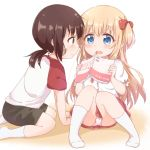 2girls araki495 arm_support bangs black_hair black_shorts blonde_hair blue_eyes blush bow brown_eyes closed_mouth commentary_request eye_contact eyebrows_visible_through_hair funami_yui hair_between_eyes hair_bow hands_up highres holding knees_up leaning_forward long_hair looking_at_another low_twintails multiple_girls no_shoes open_mouth painttool_sai_(medium) panties pleated_skirt ponytail profile puffy_short_sleeves puffy_sleeves raglan_sleeves red_bow red_skirt shirt short_sleeves shorts sitting skirt socks toshinou_kyouko twintails two_side_up underwear very_long_hair white_background white_legwear white_panties white_shirt younger yuru_yuri