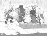 1boy 1other 3girls amiya_(arknights) animal_ears ansel_(arknights) arknights artist_request body_armor bow_(weapon) bunny_boy bunny_girl bunny_tail crossbow doctor food gameplay_mechanics greyscale heavy_defender_(arknights) hoshiguma_(arknights) jiangmoluo kroos_(arknights) long_hair monochrome multiple_girls onigiri rabbit_ears shield tail weapon