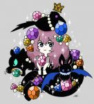 1girl animal_on_head bat bird bird_on_head black_bird black_cat blue_eyes cat crown garouma gem green_sclera grey_background holding_gemstone jewelry long_hair long_sleeves looking_at_viewer on_head original purple_hair smile sparkle upper_body violet_eyes