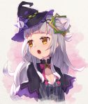 1girl bangs black_capelet black_hairband black_headwear bow breasts brown_eyes capelet eyebrows_visible_through_hair grey_hair grey_shirt hair_bun hairband hat highres hololive long_hair looking_away looking_to_the_side masaki_(msk064) mini_hat mini_witch_hat murasaki_shion open_mouth pink_bow shirt side_bun small_breasts solo star_(symbol) striped striped_shirt tilted_headwear upper_body vertical-striped_shirt vertical_stripes virtual_youtuber witch_hat