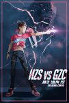 1boy absurdres character_name cosplay electricity finger_gun full_body guxue_(gamer) hangzhou_spark highres jersey navel official_art overwatch overwatch_league pants poster real_life shoes sneakers winston_(overwatch) winston_(overwatch)_(cosplay)