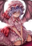 1girl absurdres backlighting bat_wings between_legs blue_hair brooch commentary_request expressionless eyebrows_visible_through_hair glint hair_between_eyes hand_between_legs hands_together hat hat_ribbon highres jewelry looking_at_viewer maboroshi_mochi mob_cap petticoat pink_headwear pink_shirt pink_skirt puffy_short_sleeves puffy_sleeves red_eyes remilia_scarlet ribbon shirt short_hair short_sleeves simple_background sitting skirt skirt_set solo touhou v_arms wariza white_background wings