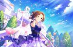 blush brown_eyes brown_hair dress idolmaster_cinderella_girls_starlight_stage kawashima_mizuki long_hair smile veil wink