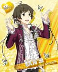 akizuki_ryou brown_eyes brown_hair character_name idolmaster idolmaster_side-m jacket short_hair smile