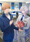 2boys ahoge arthur_pendragon_(fate) bangs bed blonde_hair blue_eyes blue_hair blue_neckwear blue_suit bouquet bow bowtie closed_mouth collared_shirt commentary_request cowboy_shot eyebrows_visible_through_hair fate/grand_order fate/prototype fate_(series) flower formal fuyuomi grey_hair grey_neckwear hair_between_eyes holding holding_bouquet indoors long_hair looking_at_viewer male_focus merlin_(fate) multiple_boys necktie open_mouth pants pillow shirt short_hair smile standing suit very_long_hair white_shirt white_suit