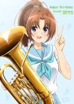 1girl artist_name bass_clef blue_background blue_neckwear blush brown_hair commentary_request dated diesel-turbo eighth_note eyebrows_visible_through_hair hair_between_eyes hair_intakes happy_birthday hibike!_euphonium highres holding holding_instrument instrument looking_at_viewer musical_note nakagawa_natsuki neckerchief open_mouth ponytail sailor_collar sidelocks simple_background solo tuba upper_body v violet_eyes white_serafuku