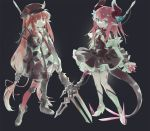 2girls :| arknights bandaged_leg bandages bangs belt black_footwear black_headwear black_jacket blue_eyes blue_ribbon boots cabbie_hat closed_mouth detached_sleeves dragon_horns dragon_tail elizabeth_bathory_(fate) elizabeth_bathory_(fate)_(all) expressionless fate/grand_order fate_(series) frilled_skirt frills green_eyes grey_background hair_ribbon hands_in_pocket hat high_heel_boots high_heels highres holding holding_spear holding_weapon horn_ornament horn_ribbon horns jacket knee_boots long_hair looking_at_viewer low-tied_long_hair mismatched_legwear multiple_girls necktie nemo_(leafnight) open_clothes open_jacket pink_hair pointed_footwear pointy_ears polearm red_eyes red_legwear red_neckwear redhead ribbon shirt sidelocks simple_background single_thighhigh skirt spear tail thigh-highs trait_connection very_long_hair vigna_(arknights) weapon weapon_connection white_footwear white_shirt