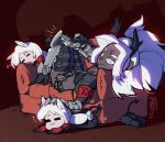 4girls =_= animal_ears belt big_hair black_vest boots breasts casual_suit cerberus_(helltaker) chibi commentary controller couch cropped_jacket demon_girl demon_horns demon_tail dog_ears dog_girl drooling english_commentary greaves grey_eyes grey_skin hand_on_another's_head helltaker hiding high_heel_boots high_heels horns judgement_(helltaker) long_hair lying medium_breasts multiple_girls on_back on_couch pentagram petting ponytail raneblu red_armband red_shirt remote_control ringed_eyes shirt short_shorts shorts tail thigh-highs thigh_boots thigh_strap vest watching_television white_hair