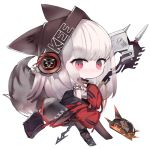 1girl animal_ears animal_hat arknights bag bangs bare_shoulders beanie black_footwear black_headwear black_skirt boots brown_legwear chibi closed_mouth commentary_request eyebrows_visible_through_hair fake_animal_ears frostleaf_(arknights) full_body hat jacket kotatu_(akaki01aoki00) long_hair long_sleeves looking_at_viewer object_hug off-shoulder_shirt off_shoulder open_clothes open_jacket pantyhose red_eyes red_jacket shirt shoulder_bag sidelocks silver_hair simple_background single_boot skirt sleeves_past_fingers sleeves_past_wrists solo tail tail_raised very_long_hair weapon white_background white_shirt