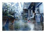 1girl brown_hair building dress highres nekojarashi_(yuuga) original outdoors plant pot potted_plant profile rain red_footwear reflection short_sleeves solo trash_can white_dress