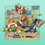arms_(game) beanie blonde_hair bodysuit bowl captain_falcon chopsticks cobushii_(arms) copyright_name donkey_kong donkey_kong_(series) doubutsu_no_mori eating f-zero food green_eyes hat helmet inkling ishikawa_masaaki mario mario_(series) metroid min_min_(arms) necktie noodles official_art ramen samus_aran shizue_(doubutsu_no_mori) splatoon_(series) spring_man_(arms) super_smash_bros. tentacle_hair window zero_suit