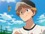1boy baseball_cap baseball_jersey blush brown_eyes brown_hair bug butterfly day hat highres insect looking_at_viewer male_focus mihashi_ren ookiku_furikabutte outdoors sayshownen smile solo upper_body yellow_butterfly