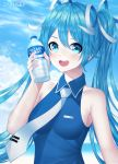 1girl :d alternate_costume artist_name bare_arms bare_shoulders blue_eyes blue_hair blue_shirt blue_sky blush bottle breasts clouds collarbone collared_shirt commentary day grey_neckwear grey_ribbon hair_ribbon hatsune_miku highres holding holding_bottle looking_at_viewer necktie open_mouth outdoors pocari_sweat ribbon shirt sky sleeveless sleeveless_shirt small_breasts smile solo sparkling_eyes upper_body vocaloid water_bottle zakusey