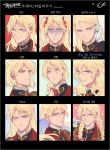 1boy alternate_hairstyle blonde_hair blue_eyes bow braid expressionless face fishissnack gloves gundam gundam_wing hair_bow lips long_hair looking_at_viewer male_focus one_eye_closed parted_lips portrait short_hair smile solo translation_request twin_braids twintails wavy_hair white_gloves zechs_merquise