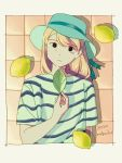 1girl aqua_headwear bangs black_eyes blonde_hair border borrowed_character commentary_request dated food fruit hat highres holding holding_leaf leaf lemon light_smile long_hair looking_at_viewer original shadow shirt short_sleeves signature solo soukifrog striped striped_shirt upper_body white_border