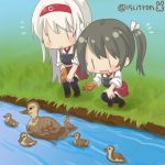 15citron 2girls bird black_footwear blush boots brown_gloves chibi dark_green_hair duck gloves hairband kantai_collection long_hair mallard multiple_girls muneate partly_fingerless_gloves red_hairband red_skirt river shoukaku_(kantai_collection) single_glove skirt smile thigh-highs thigh_boots twitter_username white_hair yugake zuikaku_(kantai_collection) |_|