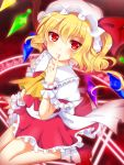 1girl ankle_socks arm_at_side arm_up blonde_hair commentary cravat dutch_angle eyebrows_visible_through_hair fang fang_out finger_to_mouth flandre_scarlet gradient gradient_background hair_between_eyes hat hat_ribbon looking_at_viewer magic_circle mob_cap one_side_up puffy_short_sleeves puffy_sleeves red_background red_eyes red_footwear red_skirt red_vest ribbon shirt short_hair short_sleeves sitting skirt skirt_set smile solo touhou vest wariza white_headwear white_legwear white_shirt wings wrist_cuffs yellow_neckwear yoimatsuri_(ichimen_no)