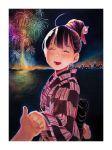 1girl absurdres bangs border closed_eyes fireworks hair_bun highres japanese_clothes kimono long_sleeves nekojarashi_(yuuga) night open_mouth original smile solo white_border yukata