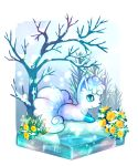 alolan_form alolan_vulpix artist_name bare_tree blue_sclera border closed_mouth commentary_request flower full_body gen_7_pokemon grass happy highres ice no_humans outdoors pink_flower pokemon pokemon_(creature) signature sitting smile snow snowing solo tree twitter_username white_border white_eyes yellow_flower yyy9696yyy