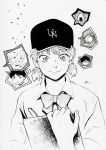 1girl 2boys ? abe_takaya absurdres baseball baseball_cap bow chernotrav clipboard food greyscale hat highres millipen_(medium) monochrome multiple_boys onigiri ookiku_furikabutte shinooka_chiyo shirt short_hair short_twintails spoken_character traditional_media twintails white_shirt