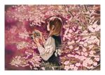 1girl black_dress blurry brown_hair camera cowboy_shot depth_of_field dress flower highres holding holding_camera long_hair long_sleeves nekojarashi_(yuuga) original pink_flower pink_theme plant profile shirt solo traditional_media tree white_shirt
