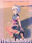 1girl collared_shirt english_text grass highres medium_hair off_shoulder original outdoors overalls print_shirt profile see-through shadow shirt shoes sleeveless sleeveless_shirt solo soukifrog summer white_hair wind