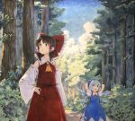 2girls :o arm_at_side arms_behind_head arms_up blue_dress blue_eyes blue_hair blue_sky brown_eyes brown_hair cirno clouds commentary_request cravat day detached_sleeves dress forest hair_between_eyes hair_ribbon hair_tubes hakurei_reimu hand_on_hip looking_to_the_side looking_up marker_(medium) multiple_girls nature neck_ribbon outdoors pinafore_dress puffy_short_sleeves puffy_sleeves red_neckwear red_skirt red_vest ribbon ribbon-trimmed_sleeves ribbon_trim road shiratama_(hockey) shirt short_hair short_sleeves sidelocks skirt sky standing touhou traditional_media vest white_shirt wings yellow_neckwear