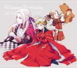 3girls age_comparison brown_hair cape chess_piece chessboard closed_mouth dated dress edelgard_von_hresvelg fire_emblem fire_emblem:_three_houses flower garreg_mach_monastery_uniform gloves grey_background hair_ribbon happy_birthday headpiece high_heels highres hiyori_(rindou66) holding holding_flower holding_stuffed_animal horns long_hair long_sleeves multiple_girls open_mouth red_cape ribbon simple_background sitting stuffed_animal stuffed_toy teddy_bear twintails uniform violet_eyes white_background white_hair younger