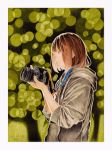 1girl border brown_eyes brown_hair camera dated highres holding holding_camera hood hood_down long_sleeves medium_hair nekojarashi_(yuuga) original profile solo traditional_media upper_body white_border