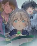 3girls antenna_hair black_blouse black_hair black_skirt blouse blue_blouse blue_eyes blue_jacket bow brown_eyes brown_hair cross-laced_skirt earrings eyebrows_visible_through_hair facing_viewer frog grey_hair highres holding holding_umbrella idolmaster idolmaster_shiny_colors izumi_mei jacket jewelry kanase_(mcbrwn18) looking_down mayuzumi_fuyuko multiple_girls outdoors plant purple_jacket rain raincoat serizawa_asahi side_part skirt snail straylight_(idolmaster) umbrella wet_lens yellow_jacket