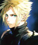 1boy armor blonde_hair blue_eyes cloud_strife earrings final_fantasy final_fantasy_vii highres jewelry jun_(seojh1029) male_focus solo spiky_hair turtleneck