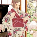 1girl 2007 adjusting_clothes architecture boulder brown_hair cowboy_shot east_asian_architecture fence floral_print flower indoors japanese_clothes kimono looking_away neza_(flying_doya) obi original sash scenery short_hair shouji sidelocks sliding_doors smile solo vase yukata