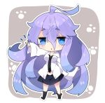 1girl :< bangs black_legwear black_neckwear black_skirt blue_eyes blue_hair breasts chibi collared_shirt commentary_request dress_shirt eyebrows_visible_through_hair fuyou-chan gradient_hair grey_background hair_between_eyes long_hair medium_breasts milkpanda multicolored_hair necktie no_shoes original outline outstretched_arm parted_lips purple_hair shirt short_eyebrows skirt sleeves_past_wrists socks solo thick_eyebrows triangle_mouth two-tone_background v very_long_hair white_background white_outline white_shirt
