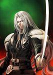 1boy final_fantasy final_fantasy_vii gloves highres jun_(seojh1029) long_hair male_focus sephiroth silver_hair smile solo sword weapon
