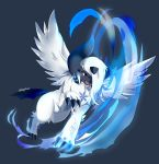 absol absurdres artist_name blue_background claws commission ebonyplume fangs full_body gen_3_pokemon glowing hair_over_one_eye highres jumping mega_absol mega_pokemon open_mouth pokemon pokemon_(creature) red_eyes signature simple_background teeth tongue white_hair wings