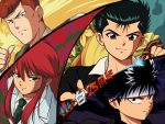 4boys black_eyes black_hair brown_eyes face green_eyes hiei_(yuu_yuu_hakusho) holding kurama kuwabara_kazuma long_hair looking_at_viewer male_focus multiple_boys necktie orange_hair petagon pompadour portrait red_eyes redhead short_hair sidelocks smile striped urameshi_yuusuke yuu_yuu_hakusho