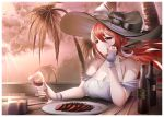1girl azur_lane breasts cocktail_dress cup dress drinking_glass evening gdat hat holding holding_cup large_breasts long_hair looking_at_viewer monarch_(azur_lane) monarch_(simple_white_grandeur)_(azur_lane) palm_tree redhead see-through solo summer sun_hat thighlet tree violet_eyes white_headwear wine_glass