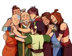 3girls 4boys aang age_difference avatar:_the_last_airbender avatar_(series) bald bare_shoulders black_hair blind brown_hair dark_skin dark_skinned_male dougi father's_day grey_hair hair_bun happy height_difference hug iroh katara long_hair medium_hair multiple_boys multiple_girls pockicchi ponytail short_hair signature smile sokka tagme tattoo tied_hair toph_bei_fong white_hair zuko