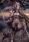 1girl armor armored_boots ass_visible_through_thighs azhang bare_shoulders black_eyes black_hair boots contrapposto cowter fantasy flag gauntlets helmet highres knight lips navel original pauldrons photoshop_(medium) shoulder_armor solo standard_bearer sword thigh-highs thigh_boots war weapon