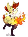 1girl animal_ear_fluff animal_ears artist_name blush braixen collaboration colorized commentary_request dated fang fire fox_ears fox_tail full_body furry gen_6_pokemon hand_up happy highres holding jpeg_artifacts leg_up light_blush looking_at_viewer mizuki_kotora no_humans one_eye_closed open_mouth outstretched_arm paws pokemon pokemon_(creature) red_eyes signature simple_background skin_fang smile solo standing standing_on_one_leg star_(symbol) stick tail white_background yotsuba_taro