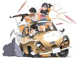 3girls absurdres ak-47 assault_rifle black_eyes black_hair blue_eyes blue_footwear bullet car driving edoya_inuhachi firing gloves ground_vehicle gun highres holding holding_gun holding_weapon long_hand medium_hair motor_vehicle multiple_girls original rifle shell_casing short_hair sitting smoke standing vehicle weapon white_background white_gloves yellow_eyes