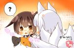 2girls animal_ears artist_name azur_lane brown_eyes brown_hair cheek_press commentary_request fox_ears fox_girl fox_tail gradient gradient_background japanese_clothes kaga_(azur_lane) kaga_(kantai_collection) kantai_collection long_hair multiple_girls multiple_tails namesake orange_background short_hair side_ponytail stuffed_animal stuffed_cat stuffed_toy tail taisa_(kari) tasuki twitter_username upper_body white_background white_hair