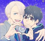 2boys ;d black_hair blue-framed_eyewear blue_eyes brown_eyes coat glasses hand_on_another's_shoulder heart heart_hands heart_hands_duo jacket katsuki_yuuri male_focus multiple_boys necktie one_eye_closed open_mouth silver_hair smile tanao track_jacket viktor_nikiforov yuri!!!_on_ice