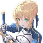 absurdres armor artoria_pendragon_(all) blonde_hair braid braided_bun breastplate eichi_(skskdi12z) excalibur eyebrows_visible_through_hair eyes_visible_through_hair fate/grand_order fate_(series) gauntlets green_eyes hair_between_eyes highres holding holding_sword holding_weapon looking_at_viewer open_mouth simple_background sword upper_body weapon white_background