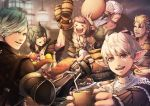 >_< 2girls 4boys alcohol animal_ears aqua_hair bangs beer_mug blonde_hair blush brown_hair cat_ears cerigg collarbone cup elezen elf facial_hair final_fantasy final_fantasy_xiv fingerless_gloves food giott gloves glynard granson green_hair grey_eyes highres holding holding_cup hyur indoors lalafell looking_at_another looking_at_viewer lue-reeq mihira_(tainosugatayaki) miqo'te mug multiple_boys multiple_girls open_mouth photoshop_(medium) pointy_ears red_eyes scar scar_across_eye short_hair smile swept_bangs taynor vambraces white_hair