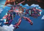 1girl aircraft airplane blue_eyes bodysuit brown_hair commentary_request dual_wielding energy_gun fire gun headgear highres holding jacket mecha mecha_musume midair ocean original outdoors ponytail science_fiction skin_tight smoke solo thrusters user_zykz2352 weapon
