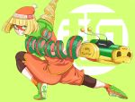 1girl al_bhed_eyes ankle_socks arm_behind_back arms_(game) artist_name bangs beanie black_legwear blonde_hair blunt_bangs blunt_ends chinese_clothes dated domino_mask dragon_(arms) emblem eyes_visible_through_hair green_background green_footwear hat highres kumo_ni_notte legwear_under_shorts looking_away looking_to_the_side looking_up mandarin_collar mask min_min_(arms) multicolored multicolored_clothes multicolored_headwear orange_headwear orange_legwear orange_shirt pantyhose print_headwear shirt shoes short_hair shorts signature simple_background sneakers socks solo